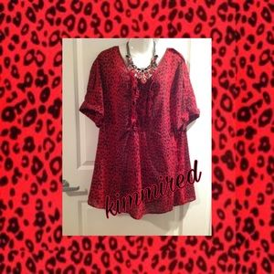 Denim 24/7 Red/Black Sheer Animal Print Blouse~24W